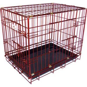 Hundbur Röd Metallic