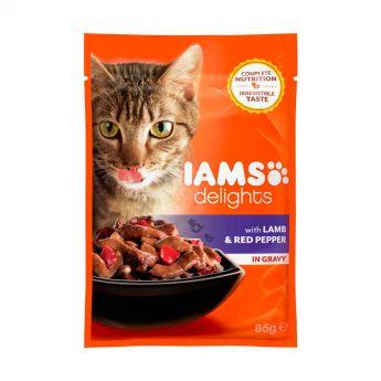 Iams Delights Lamb &Red Pepper Gravy (85 gram)**