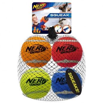 NERF Dog Squeak Tennisbollar 4-pack
