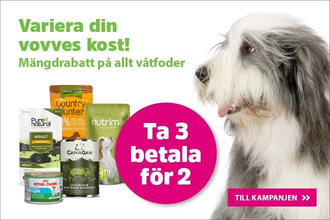 Ta 3 betala för 2 på allt våtfoder till hund