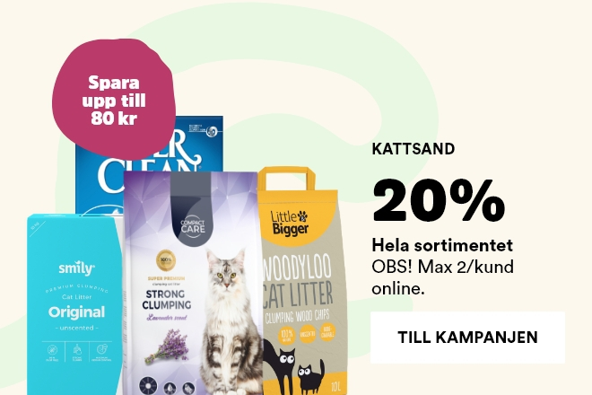 20% på all kattsand