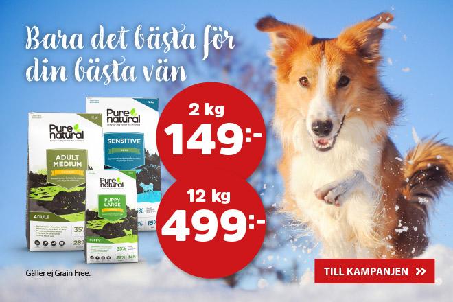 Purenatural hundmat 2 kg 149 kr & 12 kg 499 kr