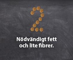Nödvändigt fett och lite fibrer