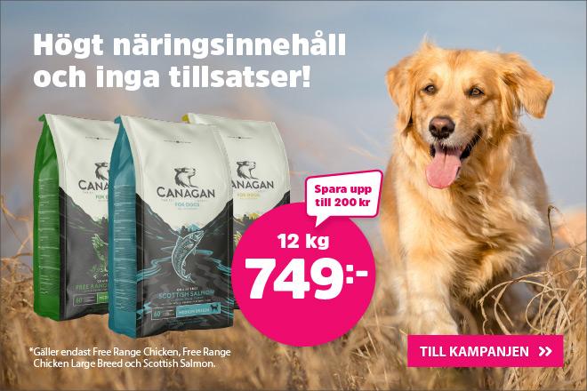 Utvalt hundfoder 12 kg från Canagan nu 749 kr