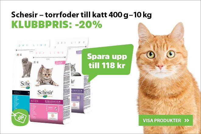 Klubbpirs: 20% på Schesir torrfoder till katt