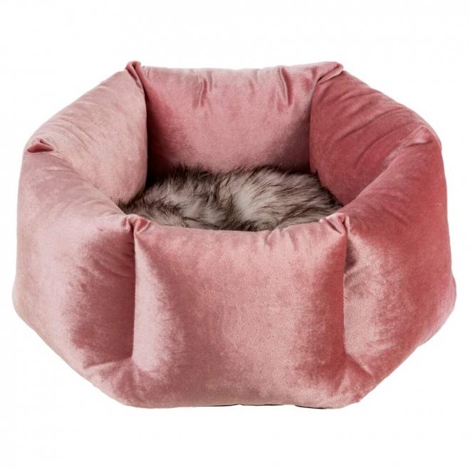 Basic Velvet Hexagon Kattbädd Rosa
