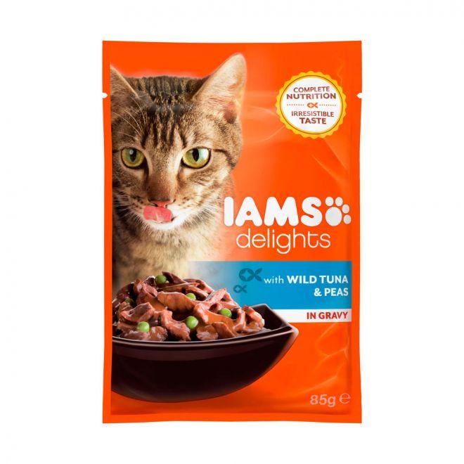 Iams Delights Tuna & Peas Gravy (85 gram)**