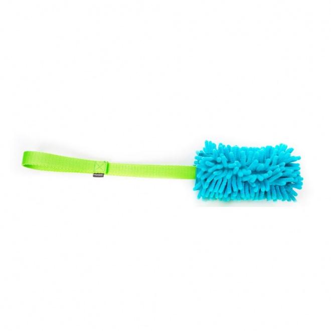 Pro Dog Mop Toy med squeaker, turkos och grön