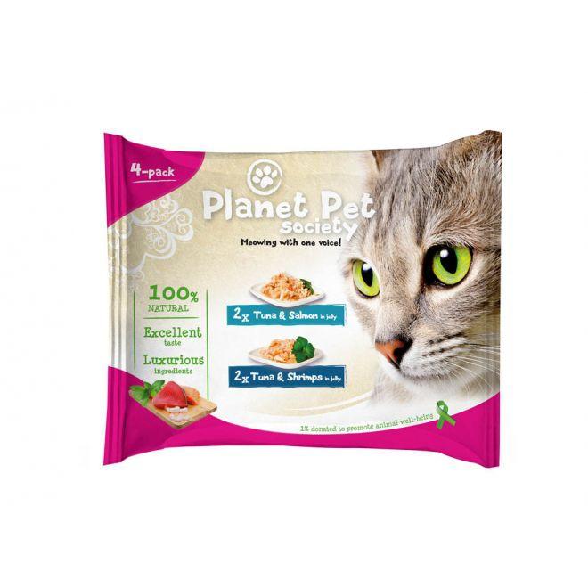 Planet Pet Society Tonfisk med lax/Tonfisk med räkor i gelé (4x50 g)**