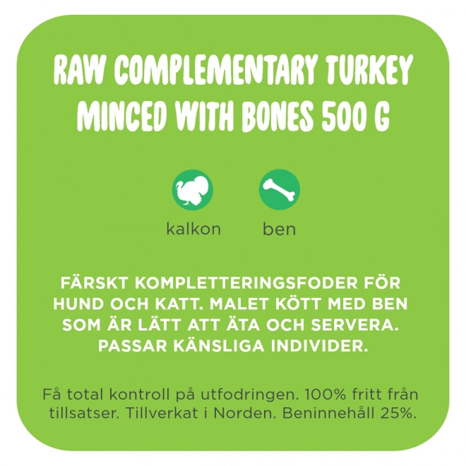 Smaak Raw Complementary Turkey Minced with Bones 500 g