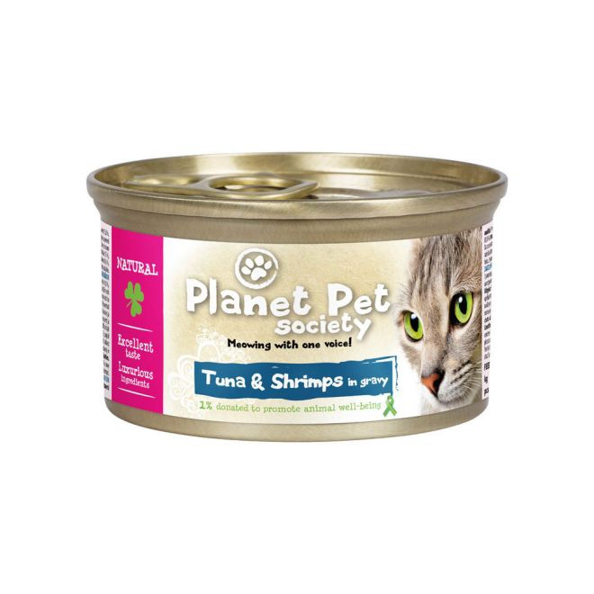Planet Pet Society Tonfisk & Räckor i sås (85 gram)**