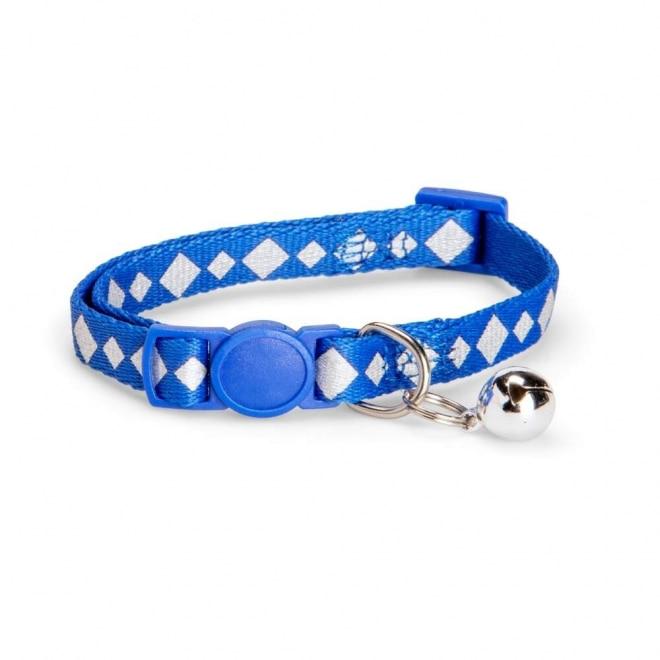 Basic Cat Reflective Check Halsband (Blå)