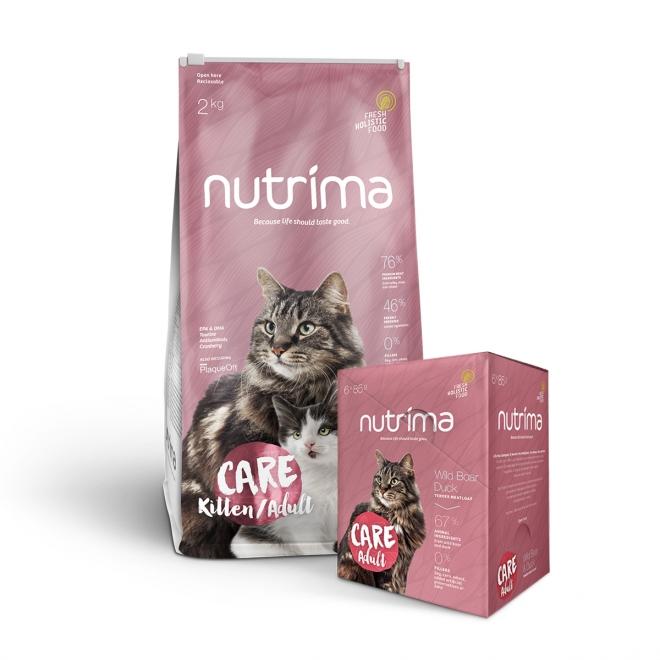 Nutrima Cat Care Adult 2 kg + Multipack våtfoder