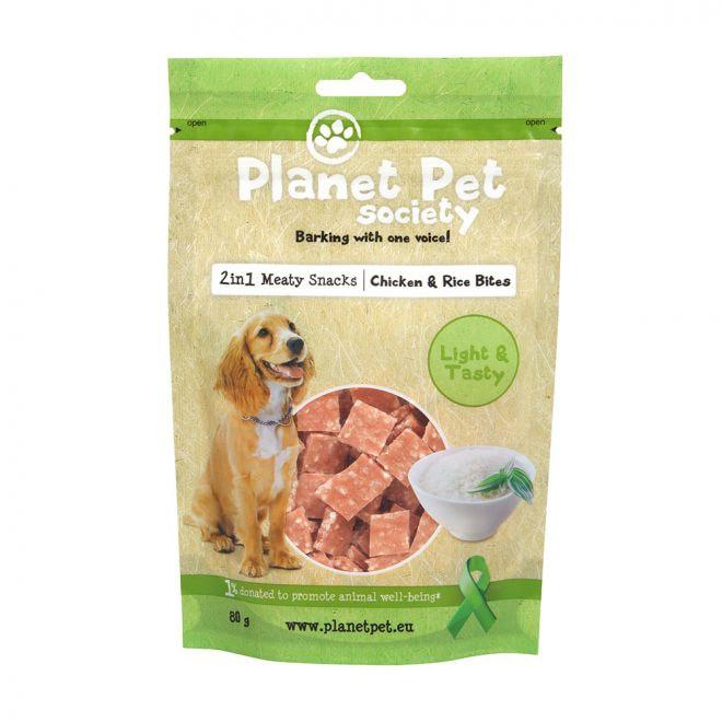 Planet Pet Society 2in1 Treats Kyckling & Risbitar