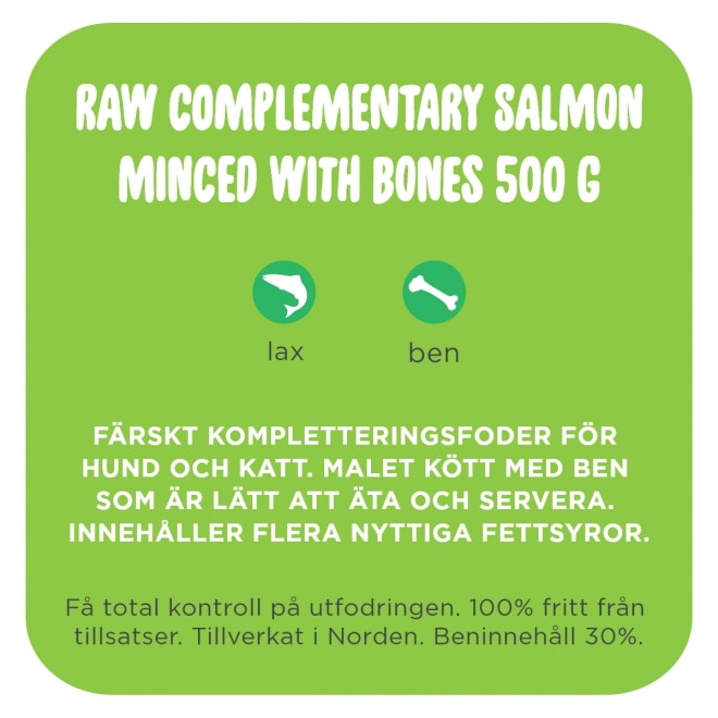 Smaak Raw Complementary Salmon Minced with Bones 500 g