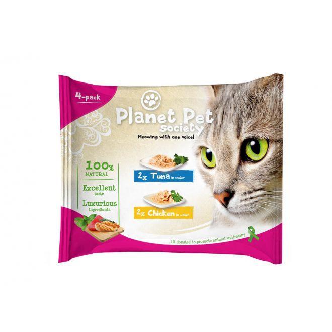 Planet Pet Society Tonfisk & Kyckling i vatten (4x50 g)**