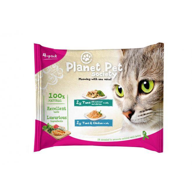 Planet Pet Society Tonfisk med sjölager/Tonfisk med kyckling i gelé (4x50 g)**