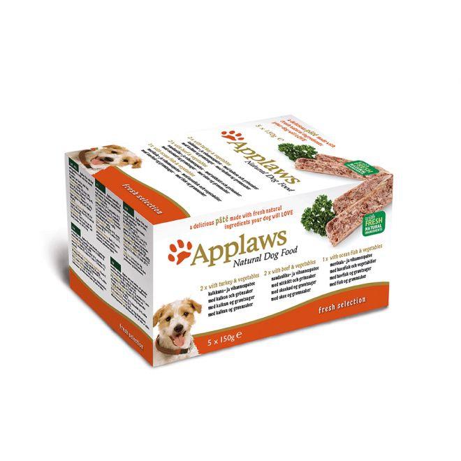 Applaws Dog Multipack Paté Kalkon, Nötkött & Havsfisk (5x150g)**