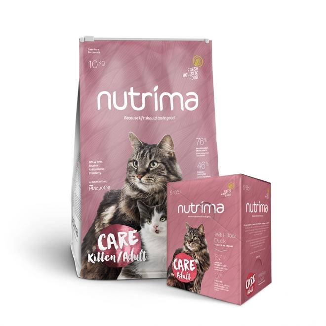 Nutrima Cat Care Adult 10 kg + Multipack våtfoder