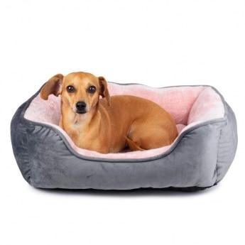Koiran peti Little&Bigger Velvet harmaa/roosa