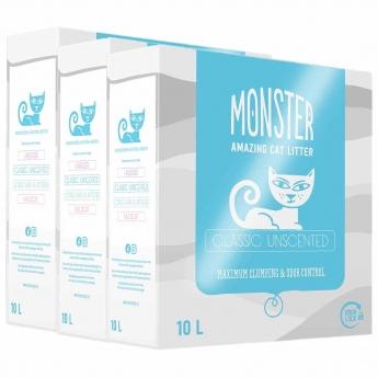 Kissanhiekka Monster Unscented 3 x 10l