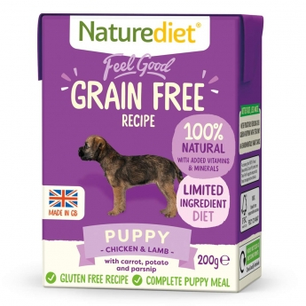 Naturediet Grain Free Puppy kana & lammas (200 g)