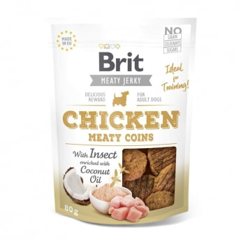 Brit Care Jerky Meaty Coins kana ja hyönteiset (80 g)