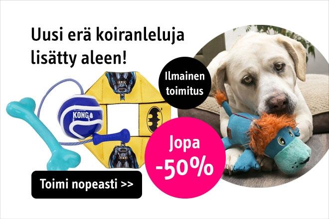 Poistuvia koiranleluja jopa -70%