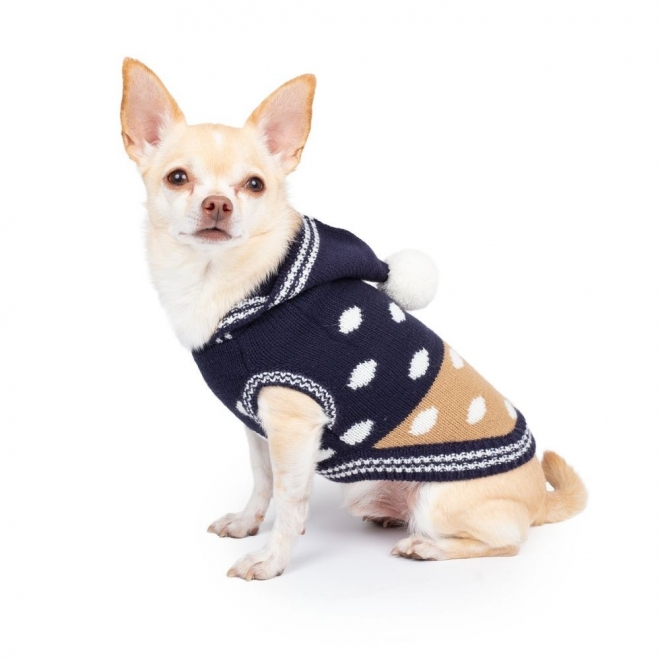 Koiran neule Basic Dot pompom sininen