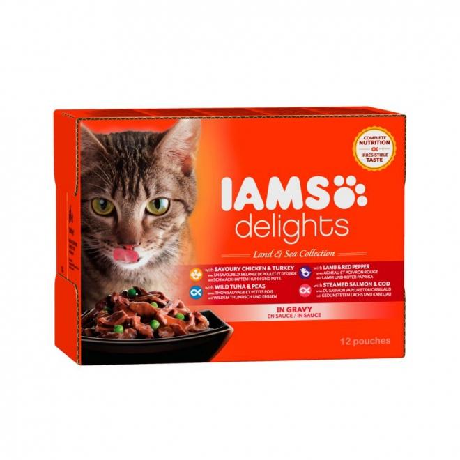 IAMS Delights Gravy Liha- & kalalajitelm 12 x 85 g
