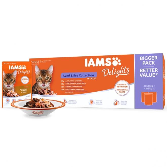 IAMS Delights Gravy Land&Sea Multipack 48x85g