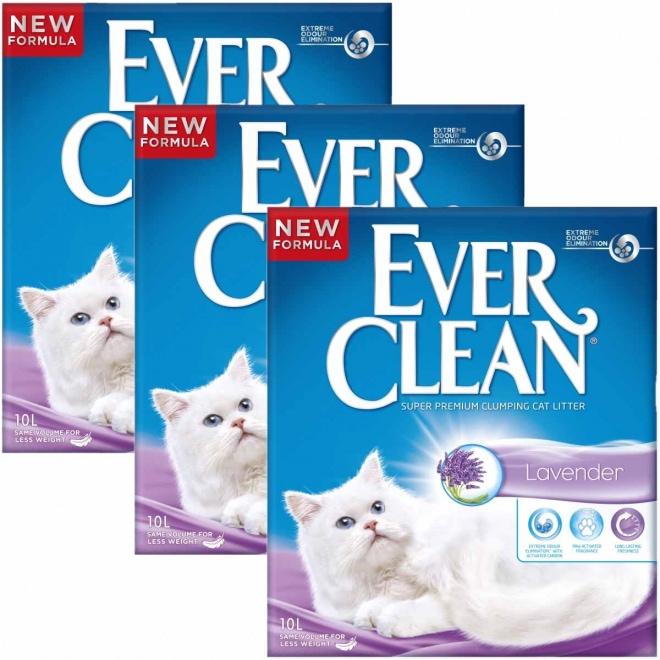 Kissanhiekka Ever Clean Lavender, 3x 10 l