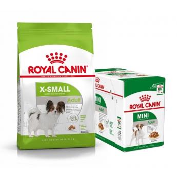 Royal Canin X-small Adult Tørrfôr 3 kg + Multipakke Våtfôr
