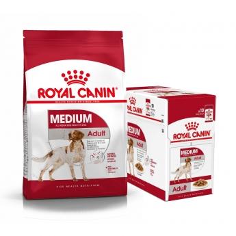 Royal Canin Medium Adult Tørrfôr 15 kg + Multipakke Våtfôr