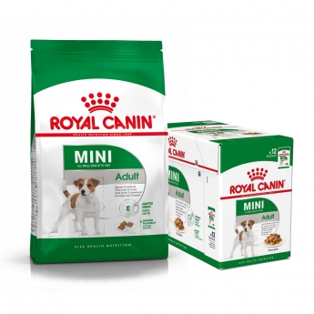 Royal Canin Mini Adult Tørrfôr 8 kg + Multipakke Våtfôr