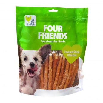 FourFriends Dog Twisted Stick Chicken 12,5 cm (40 pack)
