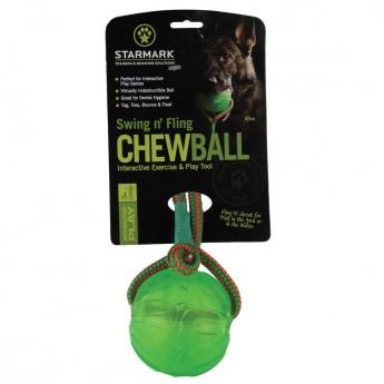 Starmark Swing Fling Tyggeball med tau 8,9 cm