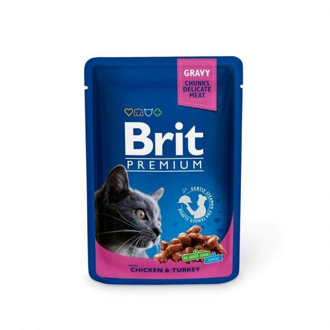 Brit Premium Porsjonsposer Med kylling & kalkun for Katter