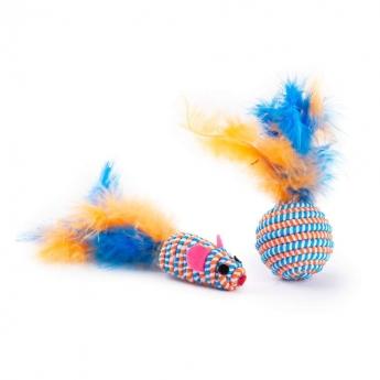 Little&Bigger Perky Party Mus & Boll med Fjädrar 2-pack