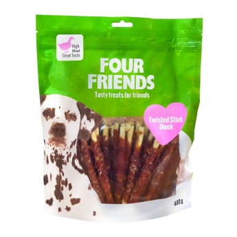 FourFriends Dog Twisted Stick Duck 12,5 cm (40 pack)