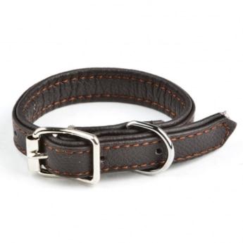 Feel Leather Vadderat Läderhalsband Brun