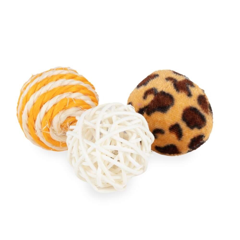 Little&Bigger Pure Purr Bollar 3-pack Leopardmönstard