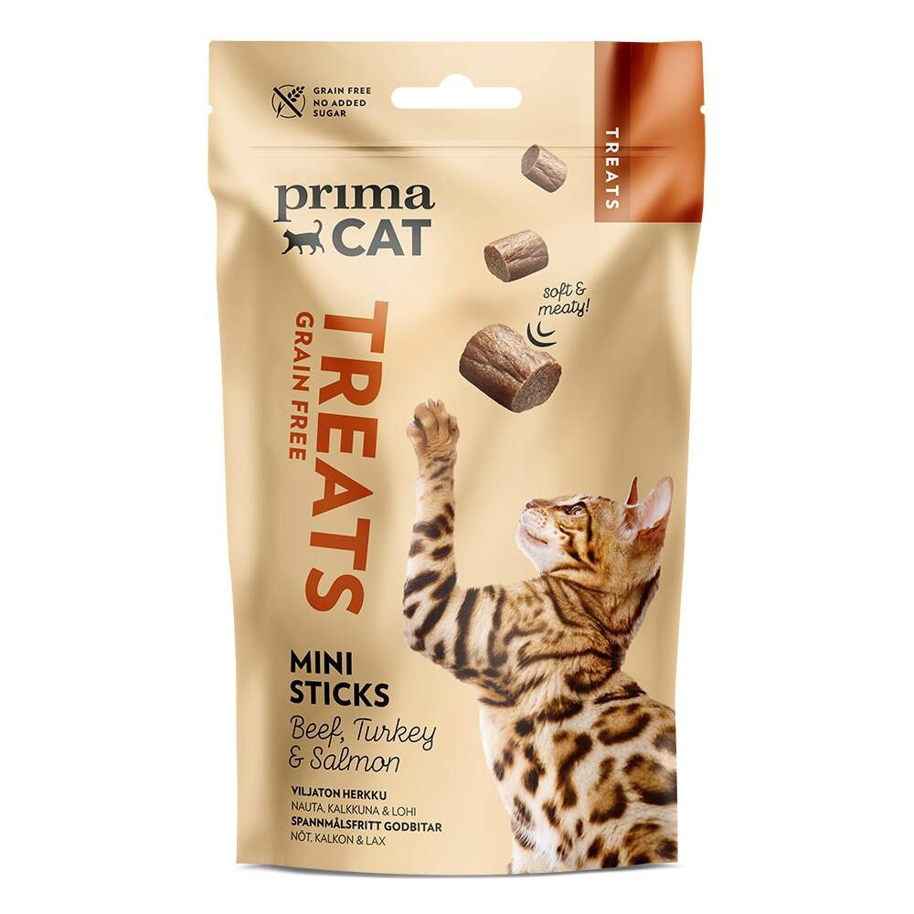 PrimaCat Softy Grain Free Mini Sticks Beef, Turkey & Salmon 50 g