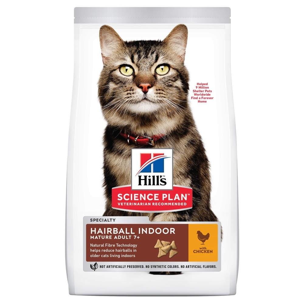 Science Plan Mature Adult Hairball & Indoor m Kyckling för Katt (2,5 kg)