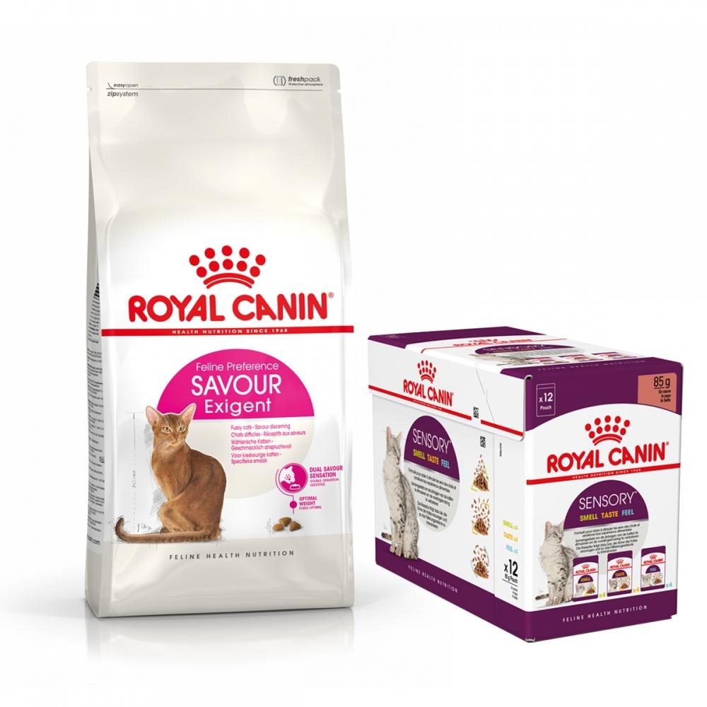 Royal Canin Savour Exigent Torrfoder 10 kg + Royal Canin Sensory Mixed Box Gravy Multipack Våtfoder