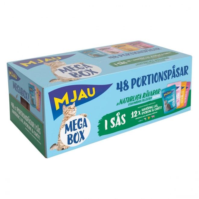Mjau Megabox Kött & Fisk i Sås 48x85 g