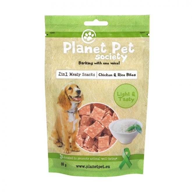 Planet Pet Society 2in1 Treats Kyckling & Risbitar